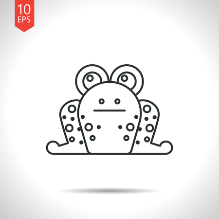 frog: Vector outline classic grey frog icon on white background