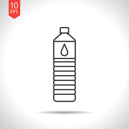 grey water: Vector outline classic grey water bottle on white background