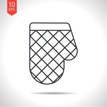 protective clothing: Vector outline classic grey kitchen glove and potholder on white background Illustration