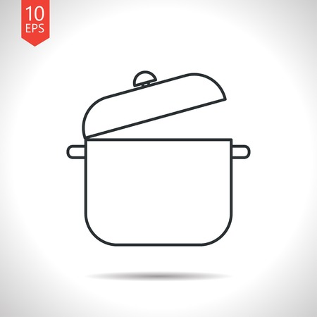 saucepan: Vector outline classic grey saucepan icon on white background