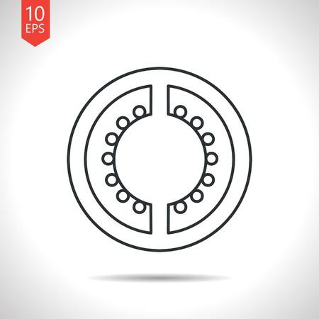 tomato slice: Vector outline classic grey tomato slice icon on white background Illustration
