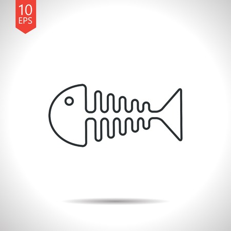 fishbone: Vector outline classic grey fishbone icon on white background