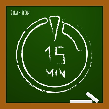 analogue: Vector chalk drawn doodle timer icon on school board