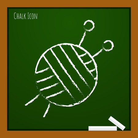 ravel: Vector chalk drawn doodle tailor ravel ball of yarn for knitting icon on school board Illustration