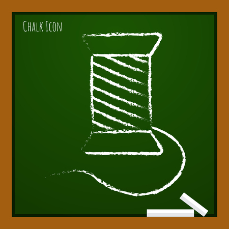 filling material: Vector chalk drawn doodle tailor thread bobbin icon on school board Illustration