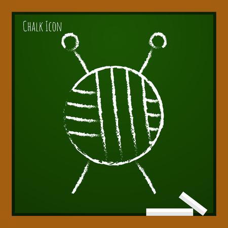 ravel: Vector chalk drawn doodle tailor ravel ball of yarn for knitting icon on school board Illustration