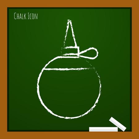 oilcan: Vector chalk drawn doodle tailor oiler icon on school board