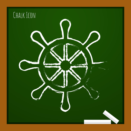 piloting: Vector chalk drawn doodle steering wheel icon on school board Illustration