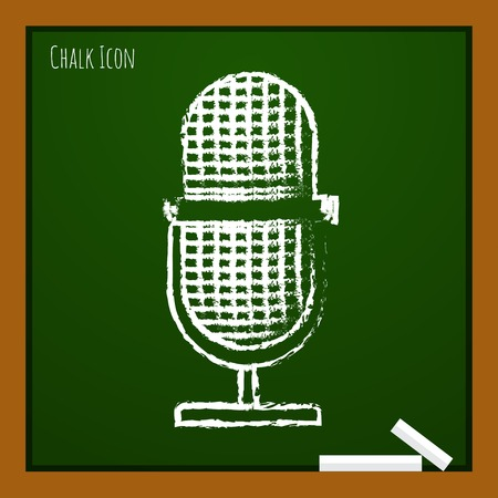 oldie: Vector chalk drawn doodle retro microphone icon on school board