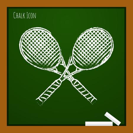 Vector chalk drawn doodle tennis rackets icon on school board