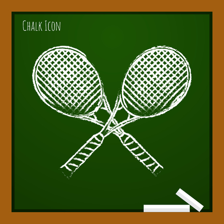 bounces: Vector chalk drawn doodle tennis rackets icon on school board