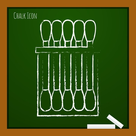 cleanliness: Vector chalk drawn doodle cotton swabs icon on school board