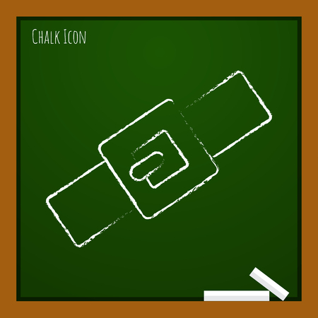 collar: Vector chalk drawn doodle pets collar icon on school board