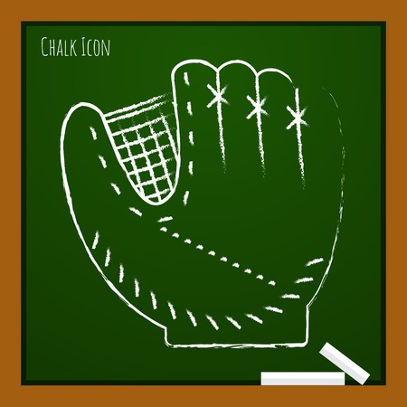 cowhide: Vector chalk drawn doodle baseball glove icon on school board