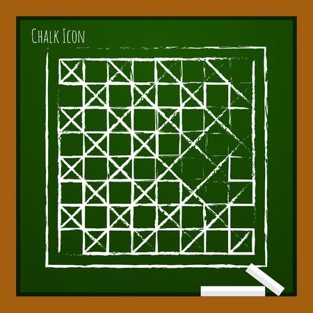 checkers: Vector chalk drawn doodle checkers board icon on school board Illustration