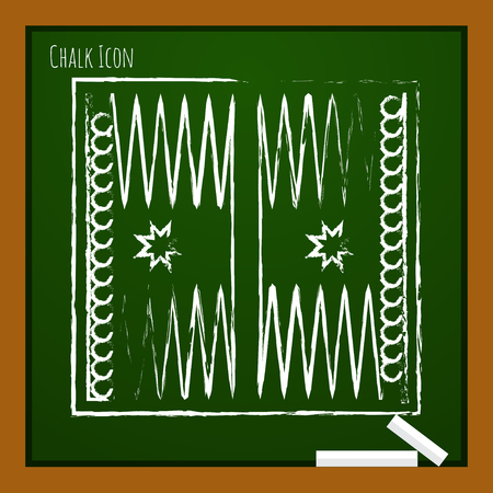 backgammon: Vector chalk drawn doodle backgammon table with dices icon on school board