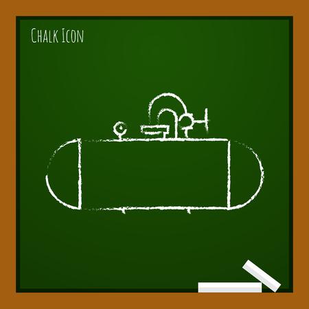 cisterna: Vector chalk drawn doodle cistern icon on school board