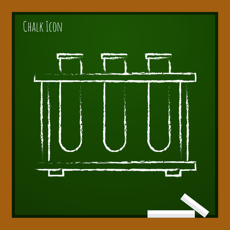 drug discovery: Vector chalk drawn doodle test-tube icon on school board
