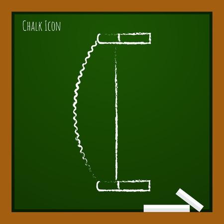 crosscut: Vector chalk drawn doodle saw icon on school board . Industrial equipment
