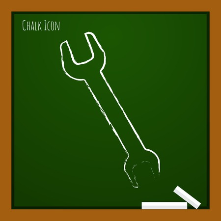 adjustable: Vector chalk drawn doodle adjustable wrench icon on school board Illustration