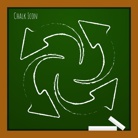business continuity: Vector chalk drawn doodle circle round arrows for business, diagram on school board Illustration
