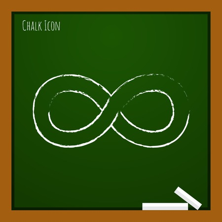 infinity icon: Vector chalk drawn doodle infinity icon on school board Illustration