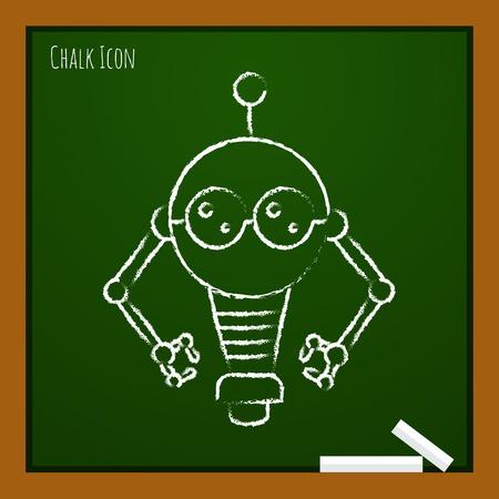retro robot: Vector chalk drawn doodle retro robot toy icon on school board