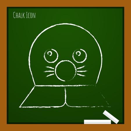Vector chalk drawn doodle seal icon on school board