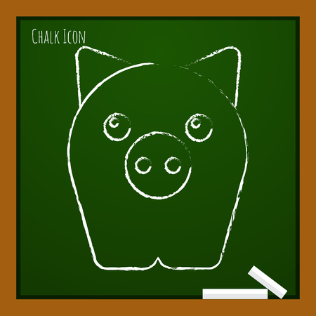 oink: Vector chalk drawn doodle pig icon on school board