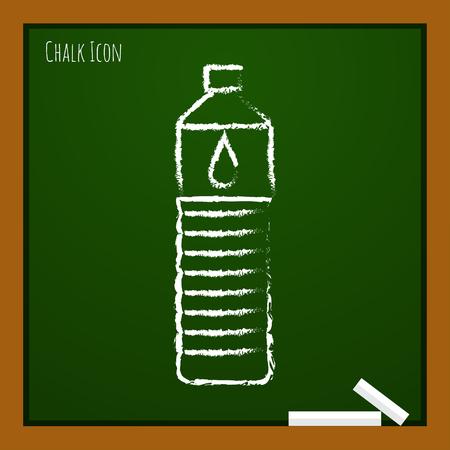 agua purificada: botella de agua del doodle de tiza vector dibujado a bordo de la escuela