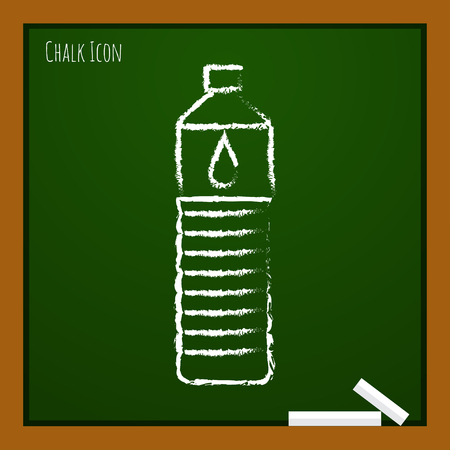 purify: Vector chalk drawn doodle water bottle on school board Illustration