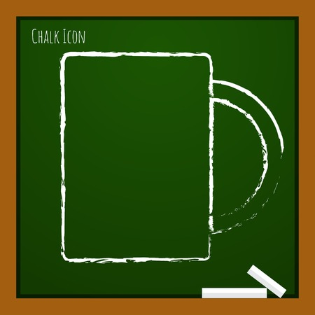 sign holder: Vector chalk drawn doodle cup for tea or coffee icon on school board Illustration