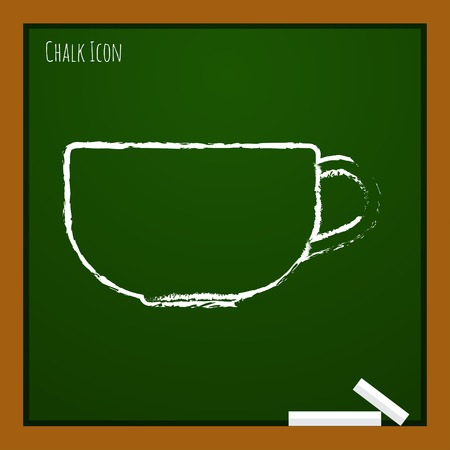 dine: Vector chalk drawn doodle cup for tea or coffee icon on school board Illustration