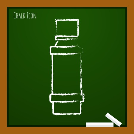 flavoring: Vector chalk drawn doodle flavoring bottle on school board . Kitchen icon
