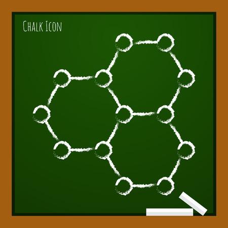graphene: Vector chalk drawn doodle graphene icon on school board . Science illustration