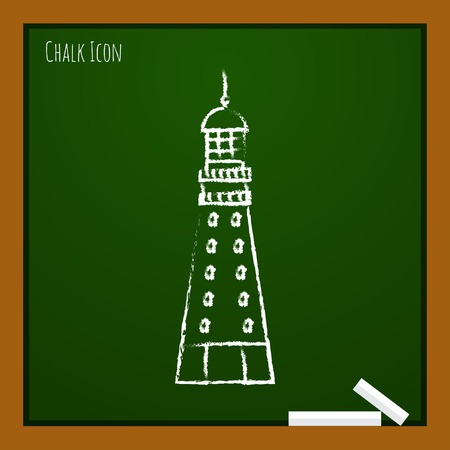 hope symbol of light: Vector chalk drawn doodle lighthouse icon on school board