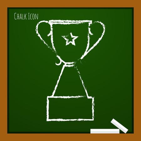 trofeo: tiza vector dibujado icono del doodle de copa trofeo en la junta escolar. premio ganador Vectores