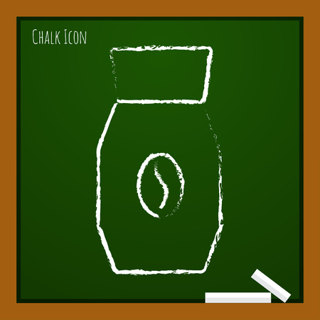 auger: Vector chalk drawn doodle coffee bottle template on school board Illustration