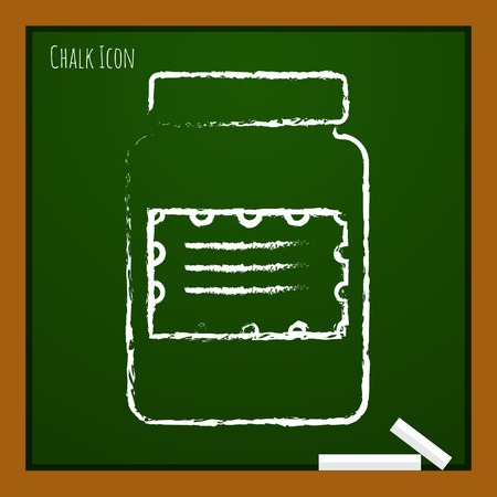 unlabeled: Vector chalk drawn doodle kitchen bottle template on school board