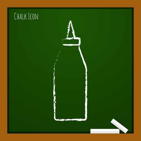 tomato catsup: Vector chalk drawn doodle bottle with ketchup icon on school board