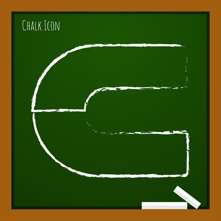 electromagnetic field: Vector chalk drawn doodle magnet icon on school board Illustration