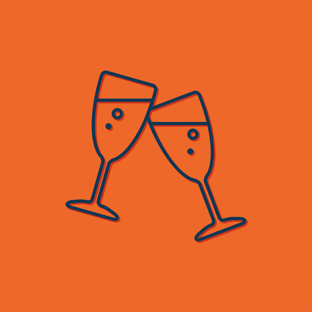 champagne flute: Champagne flute icon on orange background