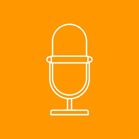 entertaining presentation: outline retro microphone icon on color background