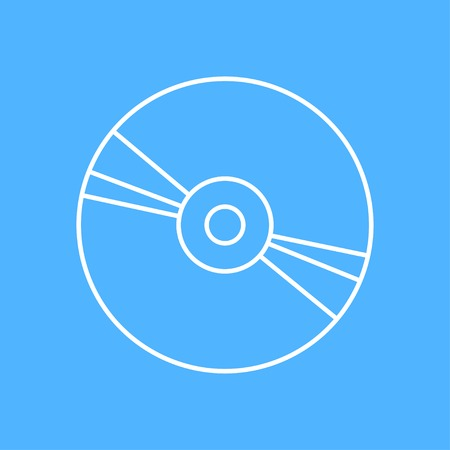compact disc: outline compact disc icon on color background Illustration