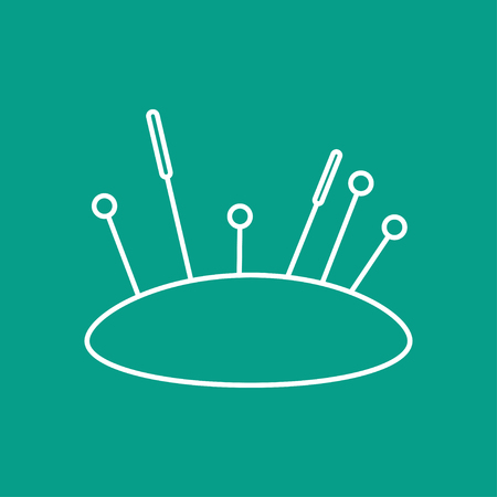 large group of items: outline tailor pins and needles icon on color background
