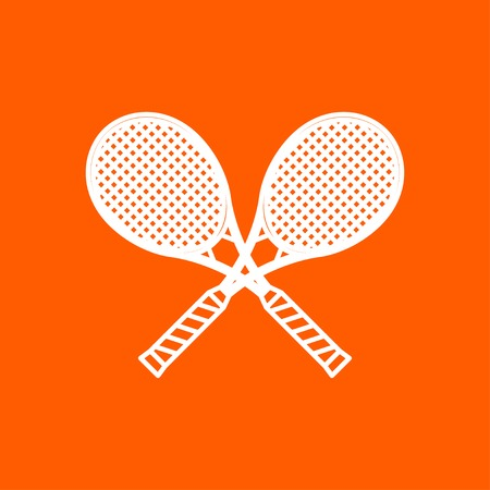 bounces: Vector outline tennis rackets icon on color background Illustration