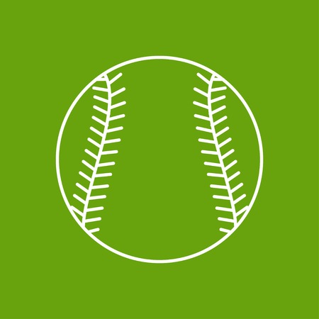 sphere base: Vector outline baseball icon on color background