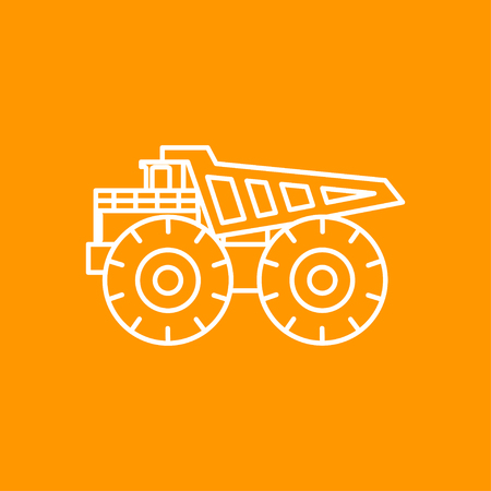 car loader: Vector outline heavy machine icon on color background