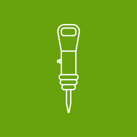 presslufthammer: Vector skizzieren Bohrhammer Symbol auf schwarzem Hintergrund. Industrielle Ausr�stung