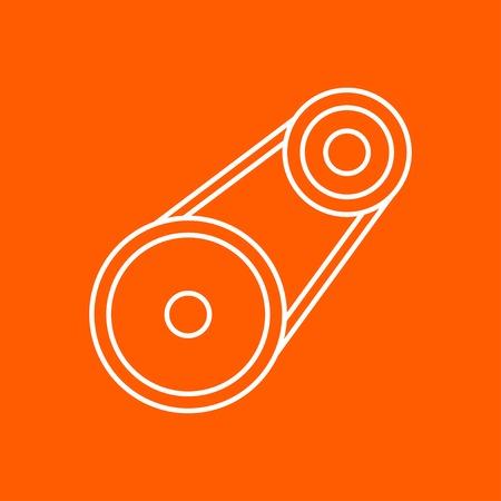 spare part: Vector outline belt drive icon on color background Illustration